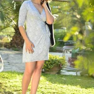Vestido blanco y azul marino. Outfit 1